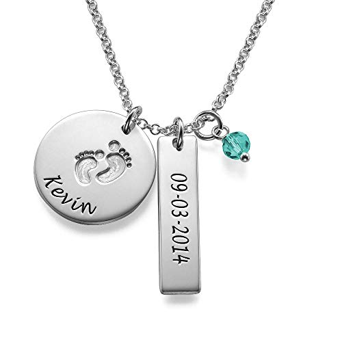 Personalized Baby Feet Bar Necklace with CZ Birthstone -925 Sterling Silver Jewelry