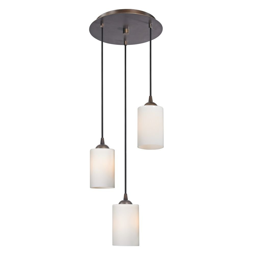 Modern Multi-Light Pendant Light with White Glass and 3-Lights by Design Classics (Image #1)