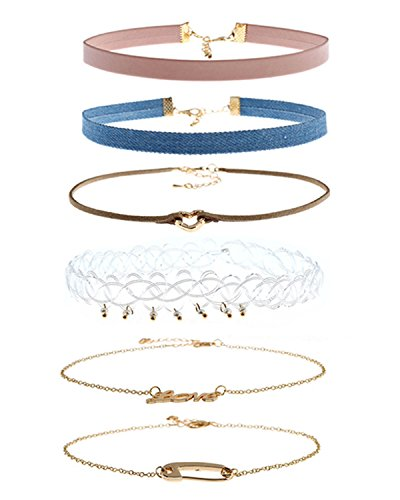 Jewelry Lolita (Croozy Multichoice Choker Necklace Velvet Classic Vintage Lace Collar Girls Tattoo Gothic Stretch Tattoo Choker Elastic Tassel Necklaces Set for Women Girls)