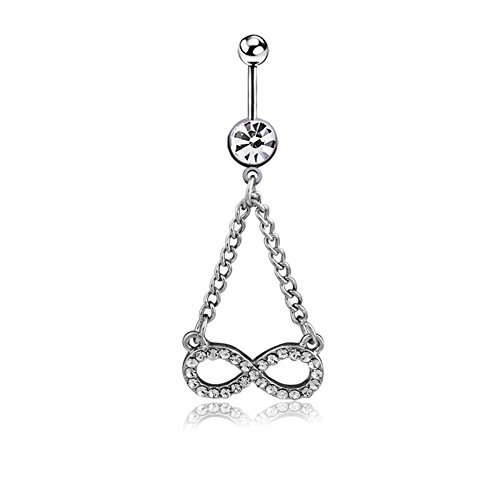 Belly Button Rings Infinity Sign,Navel Rings for Women Clear CZ Surgical Steel 14G Power Wing (White)