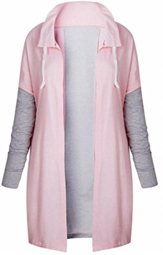 Zip Collar Stand Womens UK Color Winter Coat today Warm Solid Pink Padded Up qZBAwt