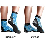 BPS 'Second Skin' Ultra Stretch Lycra Fin Socks with Fit Adjustment Straps for Snorkeling, Tide-Pooling and All Swimming Pool, Beach and Sand Activities – Choose High Cut or Low Cut