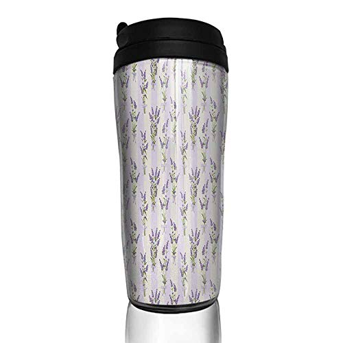 coffee cups set of Lavender,Stripes and Flowers with Ribbons Romantic Country Spring Season Inspired Design Art,Purple 12 oz,coffee cup holder for car