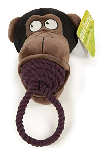 (SSterling Rope Biters Monkey with Chew Guard Technology Durable Plush and Rope Tug and Toss Dog Toy Large, Brown)