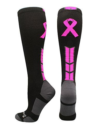 MadSportsStuff Triumph Pink Ribbon Awareness OTC Socks (Black/Neon Pink, Large) by MadSportsStuff