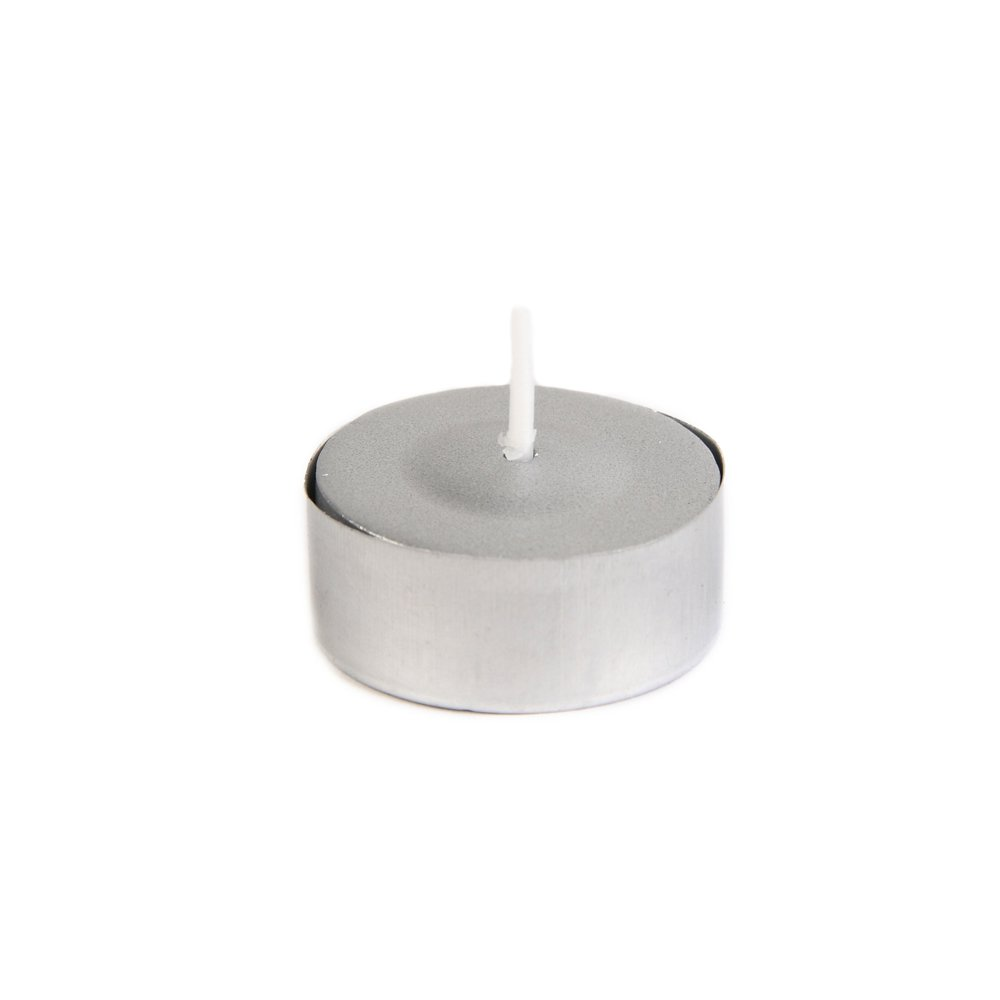 Zest Candle CTZ-040_12 600-Piece Tealight Candle, Metallic Silver