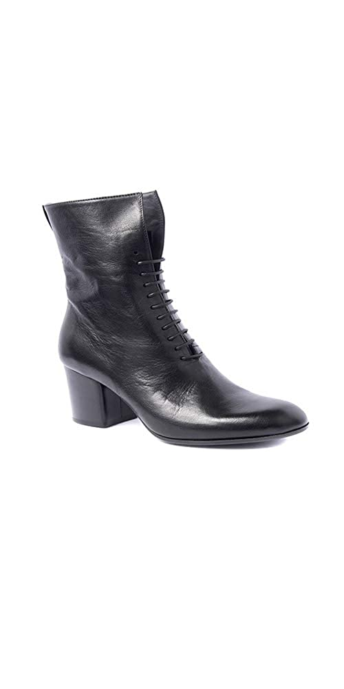 Black Pantanetti Ankle Boot Black with Front Lace