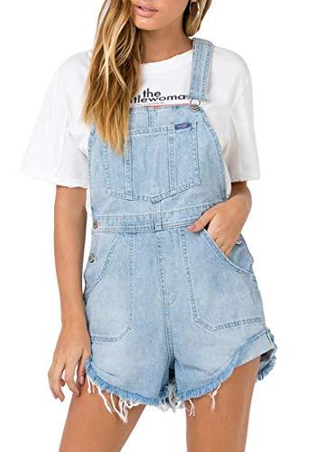 Lookbook Store Women's Casual Adjustable Strap Raw Hem Denim Bib Overalls Shorts Light Blue Size M