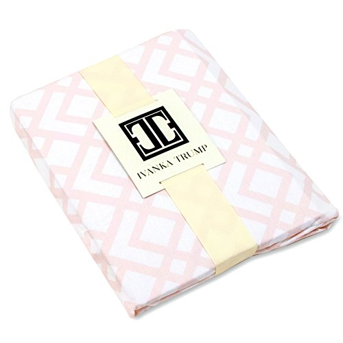 Ivanka Trump Wildflower Collection: Nursery Bedding Baby Crib Bedding Fitted Sheet 100% Cotton 200 Thread Count - Pink and White Trellis (Flower Trump)
