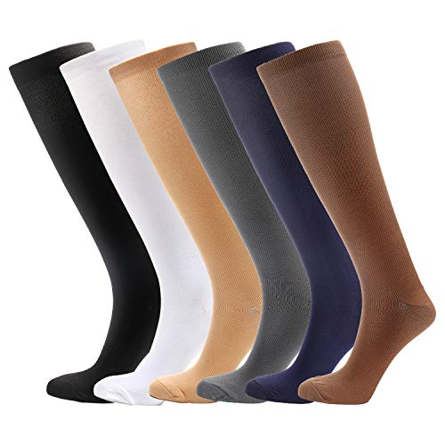 6 Pairs Knee High Graduated Compression Socks for Women and Men (15-20mmHg) ()