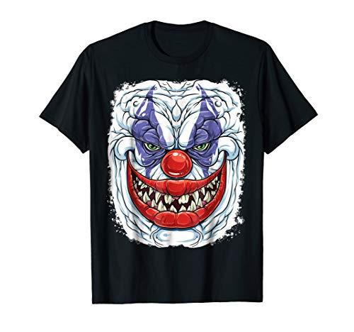 Scary Creepy Clown T Shirt Halloween Kids Men Funny Costume