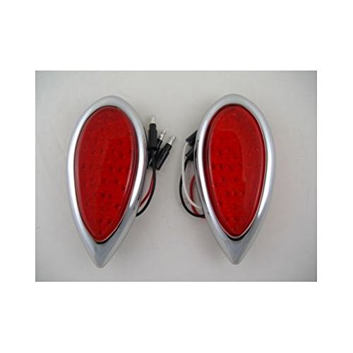 United Pacific Red LED Tear Drop Trailer Car Truck Stop Turn Brake Tail Lights/Chrome Bezels