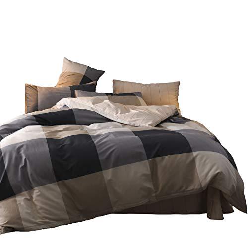 Jane yre Luxury Soft Duvet Cover Set Grey Plaid King Cotton,