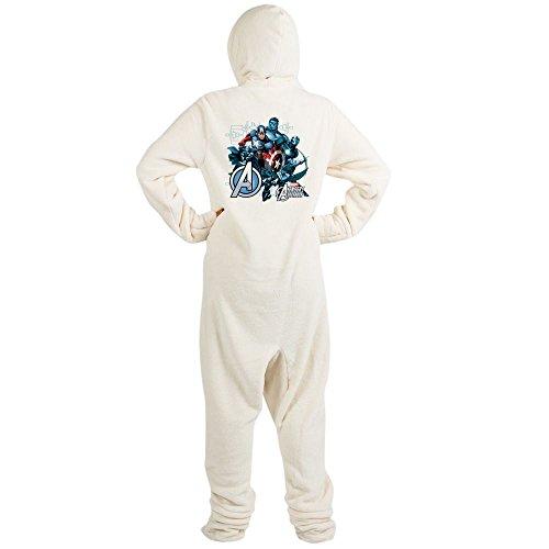 CafePress Captain America Avenger Novelty Footed Pajamas, Funny Adult One-Piece PJ Sleepwear Creme -