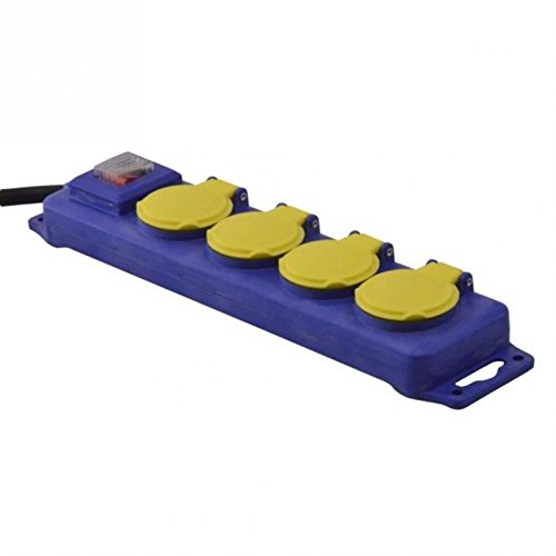 I-Watts I-B4PE07I Bloc de 4 Prises étanche avec interrupteur 3 x 1,5 mm