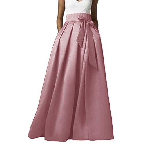 Omelas Womens Long Floor Length Pleated Skirt High Waisted Maxi A-Line Party Evening Dress Blush