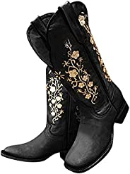 Morecome Shoes Women's Mid-Calf Boot Embroidery Studs Leather Cowgirl Boots Western Cowboy
