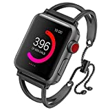 Sundo Compatible Apple Watch Band 38/40mm 42/44mm,Newest Released Unique Jewelry Style Classic Cuff Bracelet Stainless Steel Replacement Strap for Iwatch Series 4 3 2 1 (Black 2, 42mm/44mm)