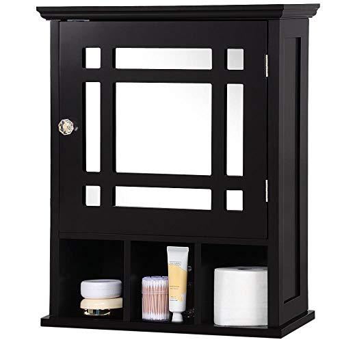 Yaheetech Mirrored Bathroom Wall Storage Cabinet with Adjustable Shelf, Wooden Medicine Cabinet ()
