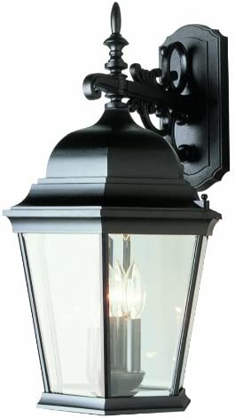 Trans Globe Imports 51002 BK Wrought Iron Three Light Wall Lantern from Classical Collection in Black Finish, 14.00 inches