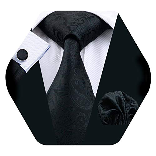 Barry.Wang Men Tie Set Solid Silk Necktie Pocket Square Cufflinks Extra Long Tie (Black)
