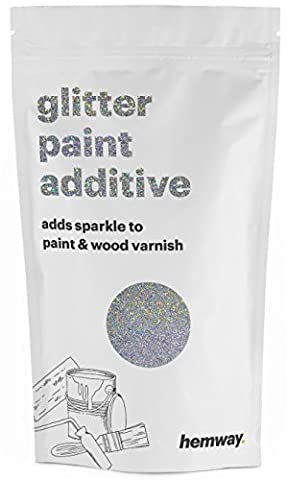 Hemway (Silver Holographic) Glitter Paint Additive Crystals 100g / 3.5oz for Acrylic Latex Emulsion Paint - Interior Exterior Wall, Ceiling, Wood, Varnish, Dead flat, Matte, Gloss, Satin, (Dark Purple Wallpaper)