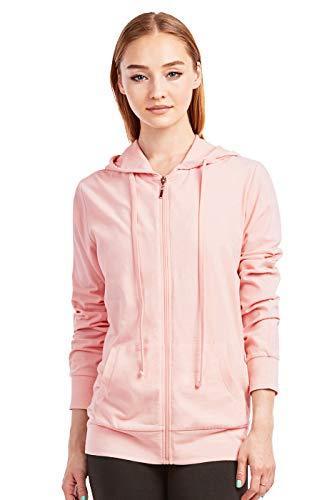 Sofra Women's Thin Cotton Zip Up Hoodie Jacket (L, Peach)