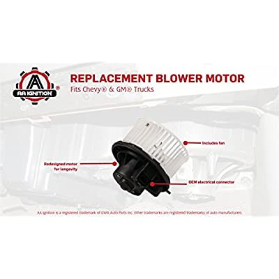 AC Blower Motor with Fan - Replaces 700191, 75748, 89019320, 89019301 - Fits Chevy Silverado, Suburban, Avalanche, GMC Sierra, Yukon, Yukon XL 1500, 2500 - Replacement Heater Motor - Years 2003-2013: Automotive
