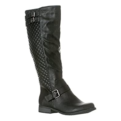 Amazon.com   Riverberry Women's Olivia Quilted Knee-High Low Heel ...