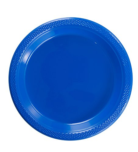 Heavy Dessert - Exquisite 7 Inch. Dark Blue Plastic Dessert/Salad Plates - Solid Color Disposable Plates - 100 Count