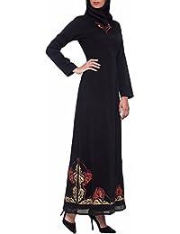 Womens Tilla Abaya Kaftan Formal Evening Modest Muslim Islamic Long Maxi Dress Black
