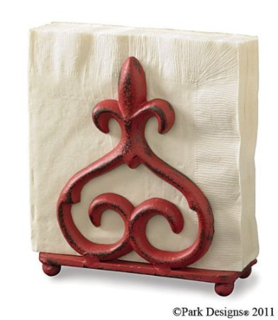 Park Designs Rue Du Marche Fleur De Lis Cast Iron Napkin Holder Red Over Black