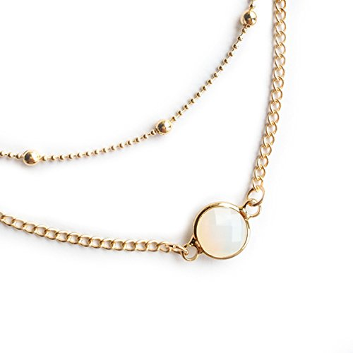 Anqifull Dainty Layered Gold Chocker Handmade Beads Fill Heart White Opal Necklace for Women Girls - Gold Fill Crystal