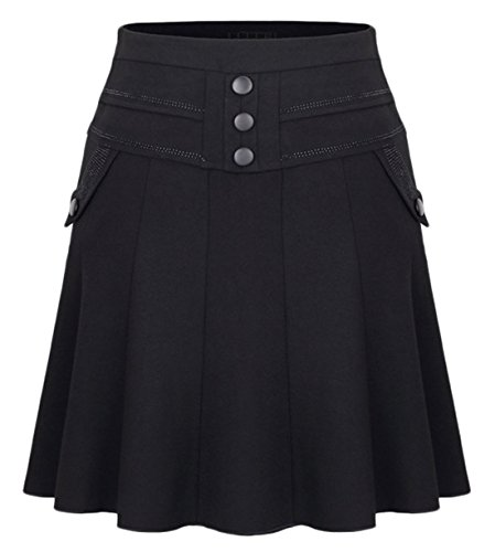 Chouyatou Women's High Waist Button-Crystal A Line Flare Swing Wool Midi Skirts (XX-Large, (Viscose Wool Skirt)