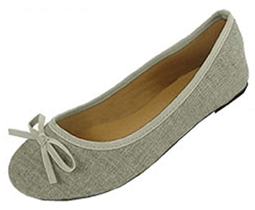 Shoes8teen Skor 18 Womens Canvas Ballerina Balett Lägenheter Skor 5074a Grå
