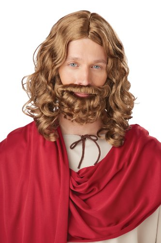 California Costumes Men's Jesus Wig and Beard Adult, Brown, One Size