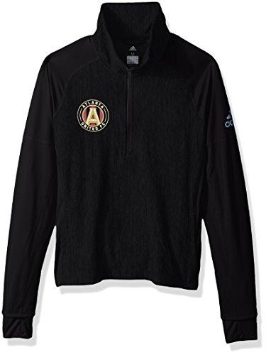 MLS Atlanta United Logo Driven 2.5 Heathered Quarter Zip Jacket, Medium, Black (United Training Jacket)