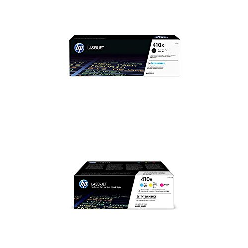 - HP 410X Black High Yield and HP 410A Cyan/Magenta/Yellow Toner Cartridge Bundle (CF410X, CF411A, CF412A, CF413A) for HP Color LaserJet Pro M452, M377, M477