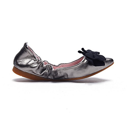 AllhqFashion Womens Solid Low Heels Pull On Pointed Closed Toe Pumps Shoes Silver qkv4ci