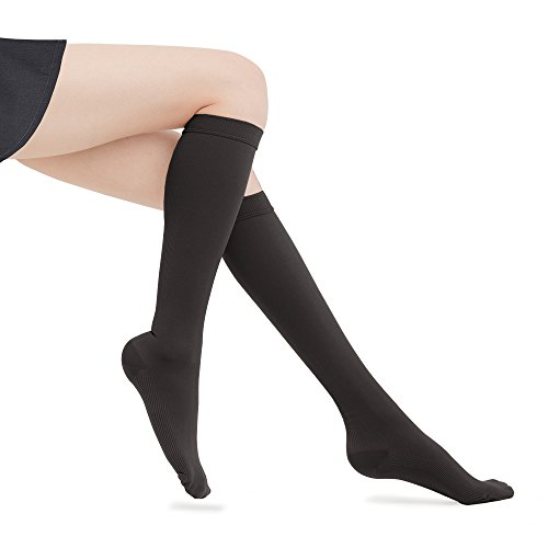 Fytto 1020 Women's Compression Socks, Opaque 15-20mmHg - Knee High Circulatory Hosiery for Travel, Varicose Veins and Swelling Leg, Black, (High Compression Hosiery)