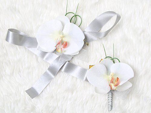 Tropical Wedding Prom Wrist Corsage Phalaenopsis Orchids and Boutonniere Set (Grey (Phalaenopsis Corsage)