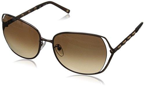 Escada Sunglasses SES803-K01 Oversized Sunglasses,Brown & Beige Leather,60 mm Escada Leather