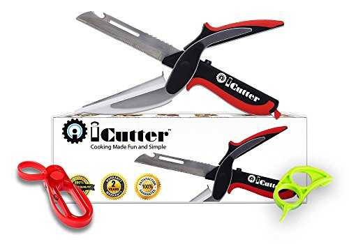 iGear iCutter Multipurpose Shears Kitchen Cutting Tool (Built in Cutter Board with Chef Knife, Scissors, Fruit Peeler, Bottle Opener, Fish Scalper) Perfect for Picnic As Seen on TV