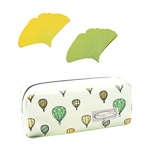 Pencil Case, Mavis's Diary Colorful Balloon Pattern Pu Leather Pen Case Pencil Holder Cosmetic Pouch Bag Zipper Box with Maple Leaf Bookmarks (Balloon Pencils)