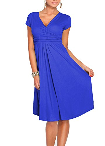 Zhaoyun Womens Casual V-Neck Cap Sleeve Slim Fit Flared Cocktail Dress Blue-XXL