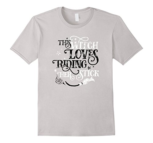 Mens This Witch Loves Riding Her Stick Halloween TShirt for Women Large (Family Themed Halloween Ideas)