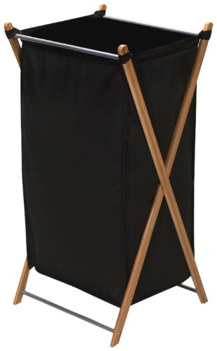 Household Essentials 6540-1 Collapsible Bamboo X-Frame Laundry Hamper | Bamboo Frame with Black Canvas Bag