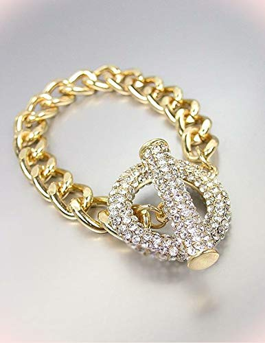 - Gorgeous Glitzy Bebe Lovely Gold Pave Cz Crystals Ring & Toggle Chain Bracelets For Women