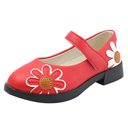 Tantisy ♣↭♣ Girls Party Wedding Mary Janes Dress Shoes/Leather Uniform Ballet Sunflower Dancing Shoes/Soft Cute Sandals Red
