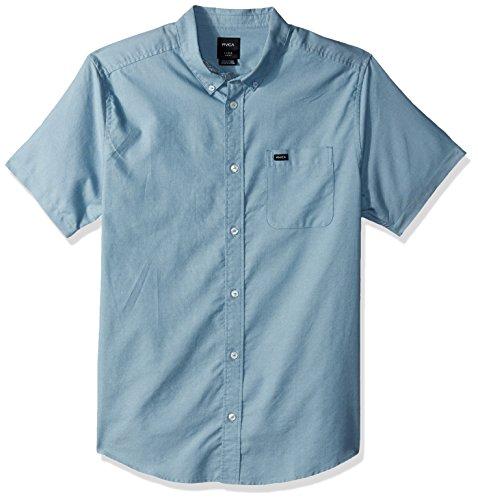 RVCA Men's Thatll Do Oxford Short Sleeve Woven Shirt, Blue Slate, Small